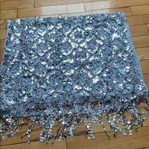 Accessories - Silver Sequin Evening Shawl